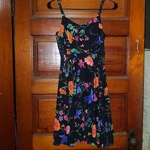 Spaghetti strap floral dress.